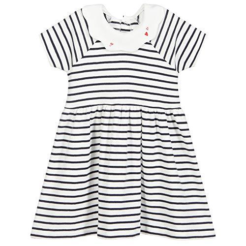 Petit Bateau A00Z101 Dress, Marshmallow/Smoking, 36 Mois Bab