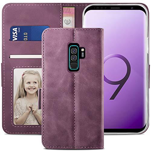 YATWIN Handyhülle Samsung Galaxy S9 Plus Hülle, Klapphülle Samsung S9 Plus Premium Leder Brieftasche Schutzhülle [Kartenfach] [Magnet] [Stand] Handytasche Hülle für Samsung S9 + Plus, Weinrot