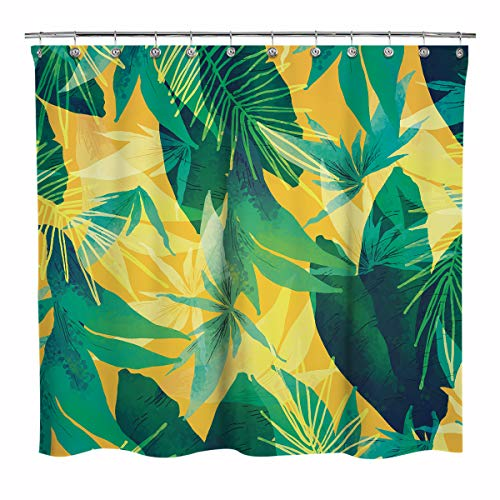 Sunlit Design Plant Fabric Shower Curtain, Green Palma Leaves with Yellow Background Curtains for Home Bathroom Decoration