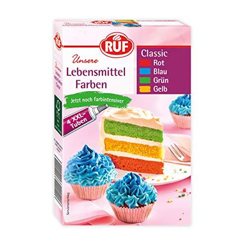 RUF Lebensmittel-Farben bunt & farbintensiv, 4 Tuben in den Farben rot, blau, grün und gelb zum Färben von Teig, Fondant, Cremes, 4 x 20 g