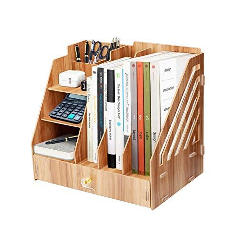 Wooden Desk Organizer, DIY Office Multifunktionales Aktenregal, Aktenbrief Dokumente Magazin Lagerregal für Büro, Zuhause und Schule