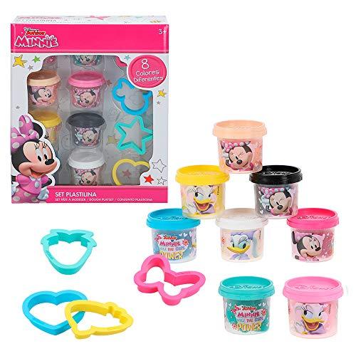 Disney- Kit plastilina Minnie 8 vasetti da 28 g con stampi e Utensili, 77175