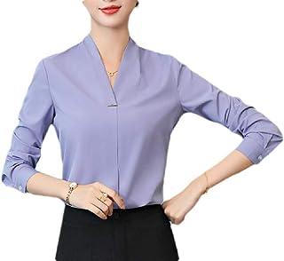 GUOCAI Women Fashion V-Neck Solid Long Sleeve Chiffon Slim Fit Wear to Work Shirts