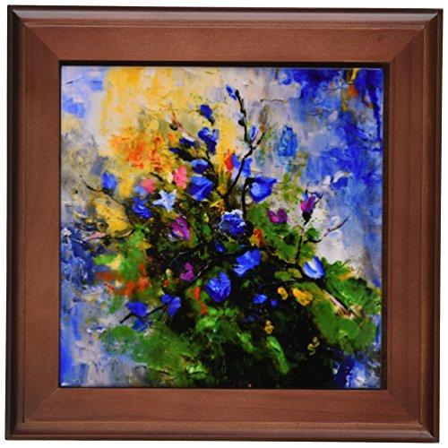 3DROSE FT_22372_1 블루 와일드 꽃 프레임 타일 8 X 8-인치