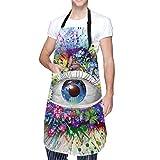 Aeykis, grembiule da cucina con occhi colorati, con tasca e laccetti regolabili, con testa di panda colorata, grembiule da cucina per cucinare, cucinare, cucinare, cucinare, fai da te, giardinaggio
