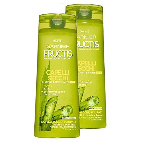 Garnier Fructis Shampoo Capelli Secchi 2In1 con Estratto di Canna da Zucchero, senza Parabeni - Confezione da 2 Unità