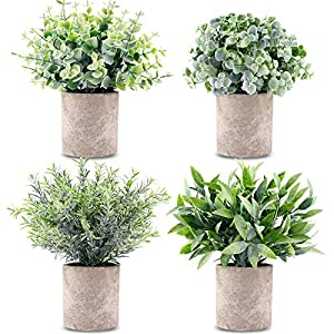 CEWOR 4 Packs Artificial Mini Potted Plants Fake Grey Greenery Eucalyptus Rosemary Boxwood Plastic Centerpiece for Home Office Desk Table Indoor Decor