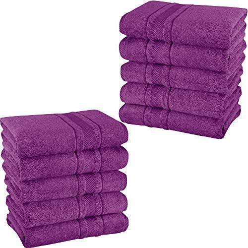 Mixibaby – Juego de 10 toallas de invitados, toallas de ducha de rizo, 100% algodón, color: morado, tipo de producto: manoplas 15 x 21