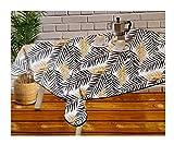 Mantel Hule PVC - Impermeable - Uso Interior y Exterior - Original 100% - Motivo Tropical Negro y Oro Dorado - Antideslizante - Borde Ribeteado Negro (Cuadrado 120x120cm)