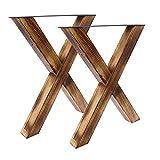 BENTATEC Tischbeine X-Form Holz geflammt