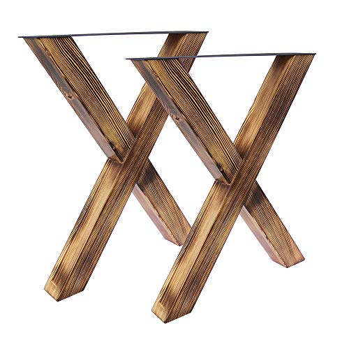 Bentatec 2 Stück - Tischgestell Holz geflammt X - 8080 Tischbein Tischkufen Esstisch