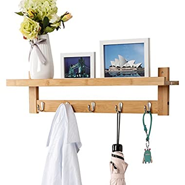 LANGRIA Wall-Mounted Coat Hook Bamboo Wooden Coat Rack and Hook Rack with 5 Metal Hooks and Upper Shelf for Storage Scandinavian Style for Hallway Bathroom Living Room Bedroom, Bamboo Color