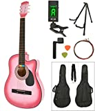 Ts-ideen Western Guitare acoustique avec sac, corde, accordeur, support, etc. Taille standard 4/4 Rose