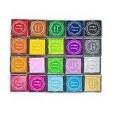 Juego de almohadillas de tinta de color, no tóxicas, lavable, almohadilla de tinta para huellas dactilares para hacer tarjetas, sellos de goma, 20 colores