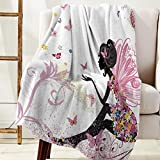 Plush Throw Blanket 40x50 inches Butterflies Bed Blanket Soft Warm Blankets for All Seasons, Lightweight Travelling Camping Throw Size for Kids Adults, Girl with Floral Dress Fairy Angel Wings