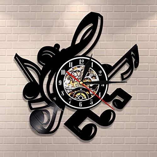 Regalos para Hombres Notas Musicales Arte de la Pared Clave de Sol Reloj de Pared Colgante Decoración para el hogar Arte de partituras Reloj