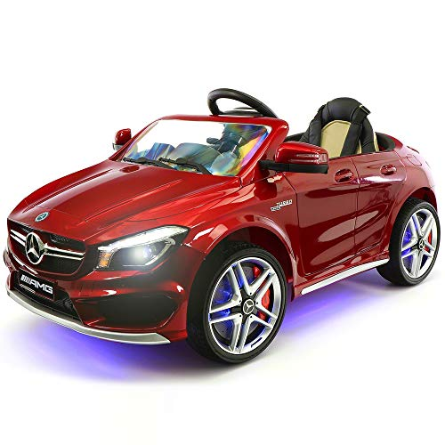 2021 Mercedes Ride On Kids Car w/ Remote, Large 12V Battery Licensed Kid Car to Drive 3 Speeds, Leather Seat, MP3 Music, LED Lights, Rubber Tires (Red)