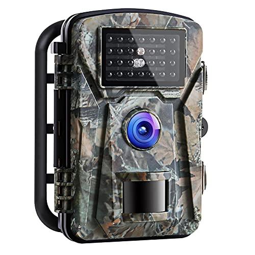 Wildkamera 16MP 1080P mit Infrarot-Nachtsicht bis zu 65 Fuß/20 m IP66 Spray Wasserdicht für Outdoor-Natur, Garten, Haussicherheitsüberwachung Grün