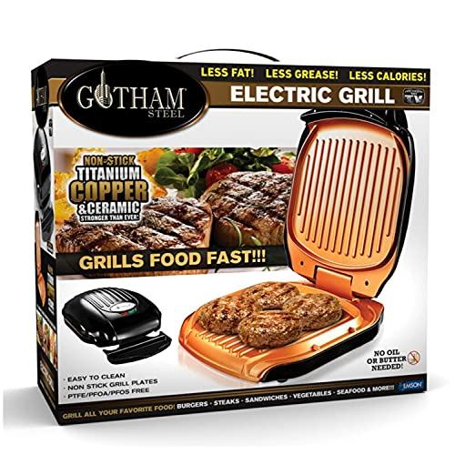 Gotham Steel Electric Grill Low Fat Multipurpose Sandwich Grill with Nonstick Copper Coating – As Seen on TV