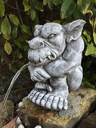 Wasserspeier Gargoyle Steinfigur Garten Deko Teich Fantasiefigur Gartenfiguren W41