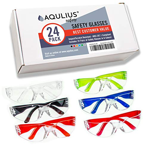 96 Pack of Safety Glasses (96 Protective Goggles in 6 Different Colors) Crystal Clear Eye Protection - Perfect for Construction, Shooting, Lab Work, and More!