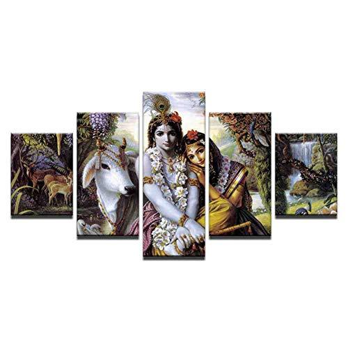 GIAOGE 5 stuks Indiase mythos schilderijen muurkunst canvas Hd gedrukt poster woonkamer decoratie dier fotolijst With mit gerahmtend 20x35 20x45 20x55 cm