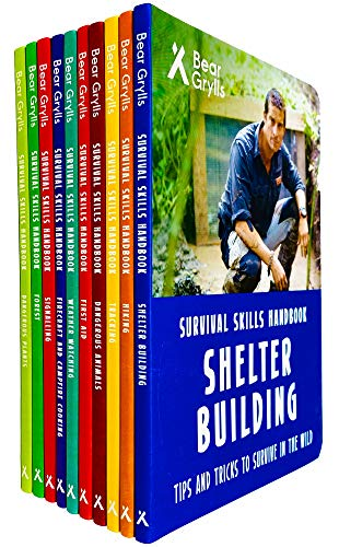 Bear Grylls Survival Skills Handbook Series 10 Books Collection Set (Dangerous Plants, Forest, Signalling, Weather Watching, First Aid, Hiking, Tracking & MORE!)