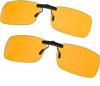 Blue Light Filter Clip-on Computer Reading Glasses UV Blue light Anti Eye Strain Unisex Anti Blue 2 Pack (Transparent/Yellow)