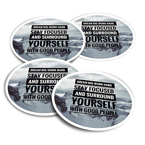 Vinyl Stickers (Set of 2) 10cm - Dream Big Work Hard Student Quote Fun Decals for Laptops,Tablets,Luggage,Scrap Booking,Fridges #16967