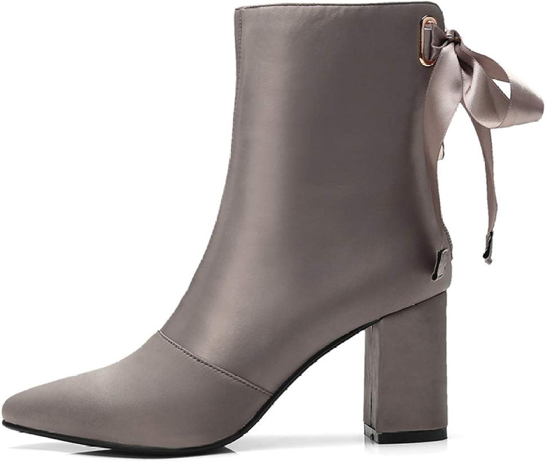 Womens Ankle Boot Pointed Toe High Heel Ladies Zip New Elegant Satin Boots,Khaki-EU 35=5.5B(M) US