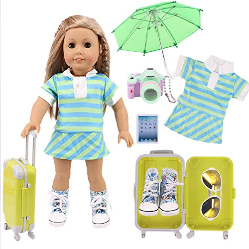 ZWSISU 7 Pcs Doll Accessories Travel Set Doll Suitcase Carry on Luggage For...