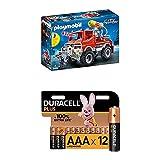 Playmobil - 4X4 de Pompier avec Lance-Eau - 9466 + Piles alcalines AAA Duracell Plus, 1.5V LR03 MN2400, Paquet de 12