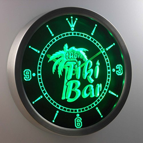 ADVPRO nc0385-g The Tiki Bar Palm Tree Beer Neon Sign LED Wall Clock Uhr Leuchtuhr/Leuchtende Wanduhr