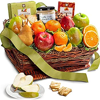 Classic Fresh Fruit Basket Gift with Crackers Cheese and Nuts for Christmas Holiday Birthday Corporate