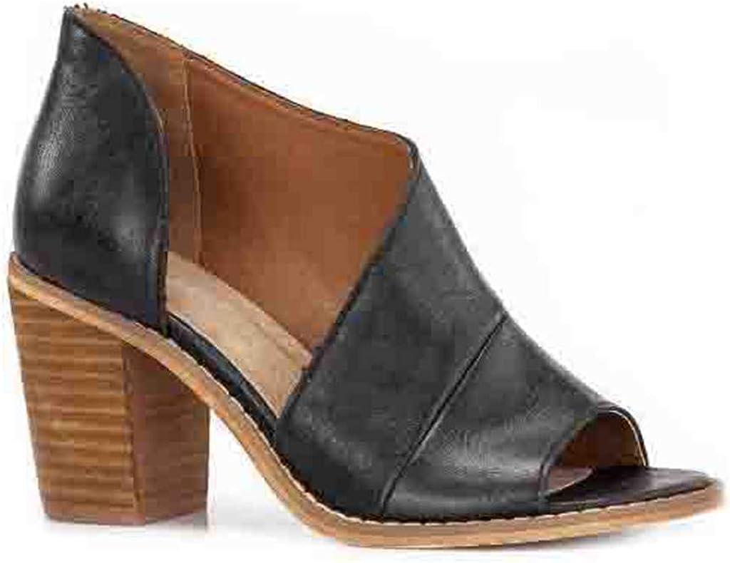 MIOKE Women's Peep Toe Stacked Heel Sandals Cutout Slip On Summer Chunky Block High Heeled Dress Sandal