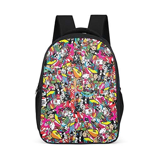 Fineiwillgo Mochila con personaje de dibujos animados, mochila de diseño, resistente para el tiempo libre, para estudiantes y alumnos, color gris brillante, talla única