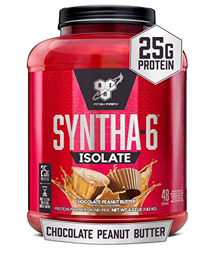 BSN SYNTHA-6 Isolate Protein Powder, Whey Protein Isolate, Milk Protein Isolate, Flavor: Chocolate Peanut Butter, 48 Servings