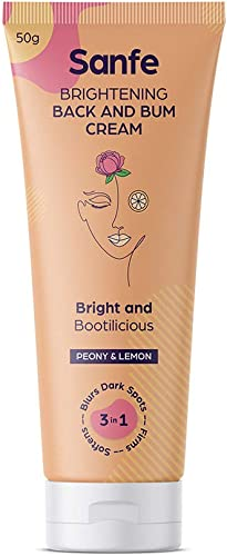 Sanfe Brightening Back and Bum Cream 50g for uneven dark and patchy bum and back Natural Peony Licorice and Lemon extracts with Vitamin E