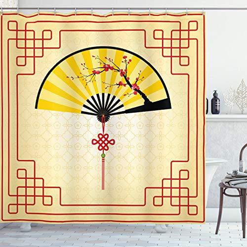 ABAKUHAUS Asiatisch Duschvorhang, Cherry Blossom Orient, Trendiger Druck Stoff mit 12 Ringen Farbfest Bakterie & Wasser Abweichent, 175 x 240 cm, Sand Braun Gelb Rot