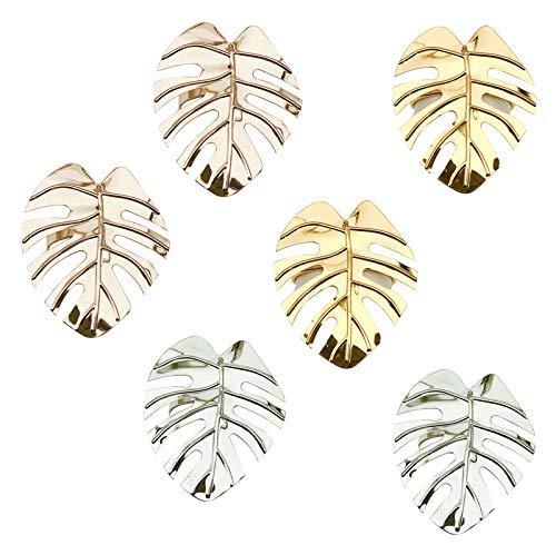 BONHHC Serviettenringe Gold Silber Serviettenringe/Metall Serviettenschnallen für Hochzeitsfeier Abendessen Jubiläum Tischdekoration(6 Stück)