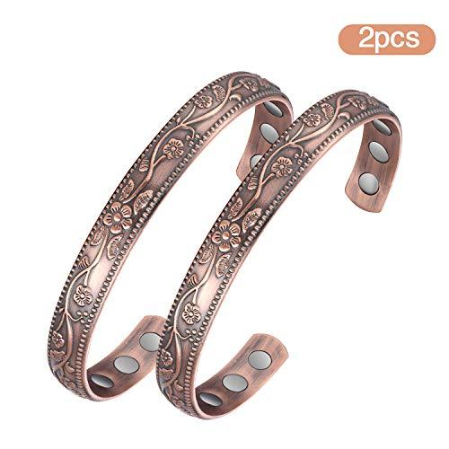 Jecanori Copper Magnetic Bracelet for Women Men Magnetic Therapy Bracelet for Arthritis Pain Relief Pure Copper Cuff Bangle with 6 Magnets(Set of 2PCS Vintage Flower)
