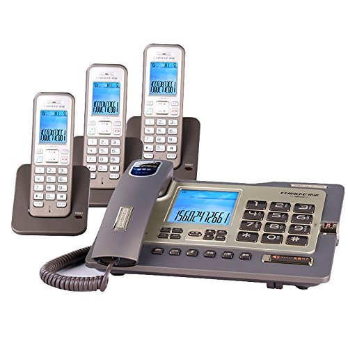 WDWL Telephone, Wired Fixed Landline and Cordless Machine Combination, Free Intercom, Three-Way Calling, One-on-one Office (Color : C)
