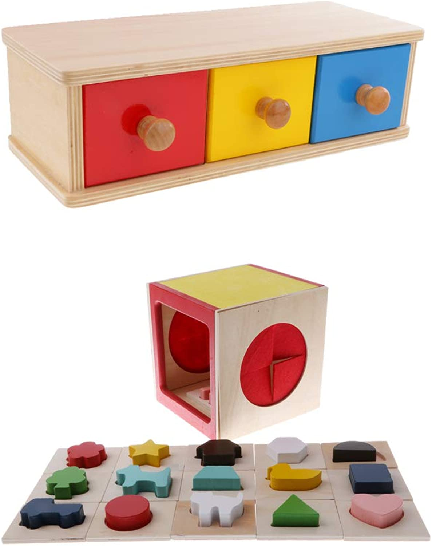 KESOTO Montessori Blocks Wooden Sorting Set Three Drawers colorful Birthday Gifts