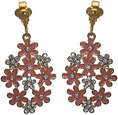 PRETTY Gold plated Peach Flower Crystal Clip On Earrings