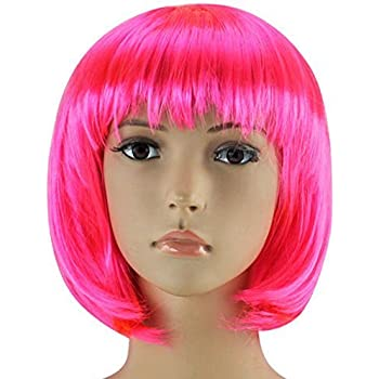 "LADIES LONG 16/"" STRAIGHT WIG PINK WHITE  FANCY DRESS COSPLAY WIGS POP HEN PARTY"