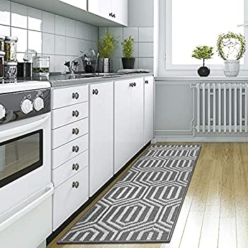 DEXI Kitchen Rug Mat Non-Slip Absorbent Runner Rug for Kitchen Floor Entryway Hallway and Dining Room Machine Washable Carpet 20 x59  Grey