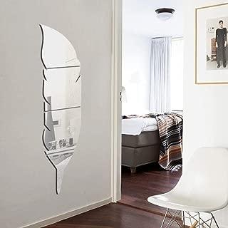 Espejo Adhesivo de pared Acrílico Espejo Adhesivo Montaje de plumas Espejo Adhesivo 3D Impermeable Decoración Aseo Sala de estar-Silver_L