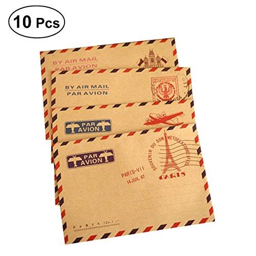 NUOLUX Tarjeta de felicitación de 10pcs Vintage Kraft Sobres tarjeta de invitación Tarjeta de felicitación sobre (patrón aleatorio)