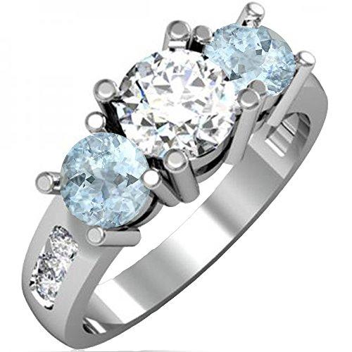 Anillo de compromiso de oro de 14 quilates con 3 piedras de aguamarina y diamante para mujer