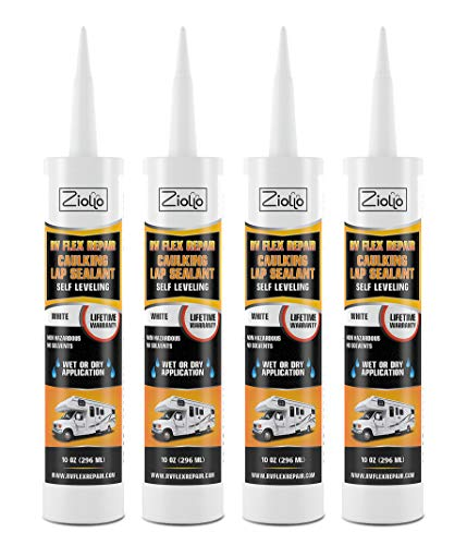 RV Flex Repair Self Leveling Caulking Lap Sealant | White | 4 - 10 oz Tubes of RV Caulk | RV Sealant and Exterior Caulking | For Rubber Roof | EPDM | RV Leveling | Camper Caulking | Camper Sealer